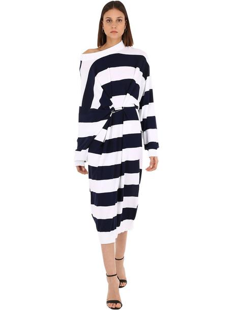 SONIA RYKIEL Striped Cotton & Wool Blend Knit Dress in blue / white