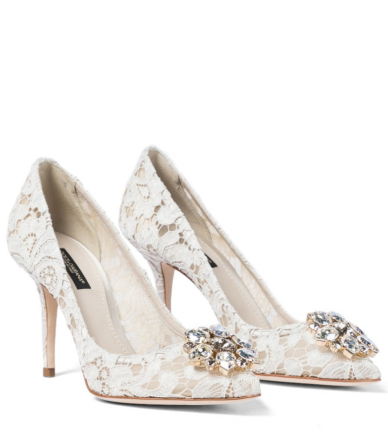 Dolce & Gabbana Belluci embellished lace pumps in white