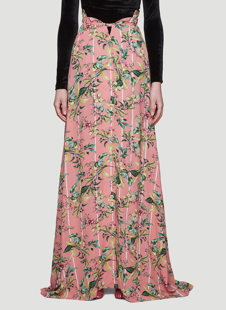 Vetements Flowers Button-Down Skirt in Pink size S
