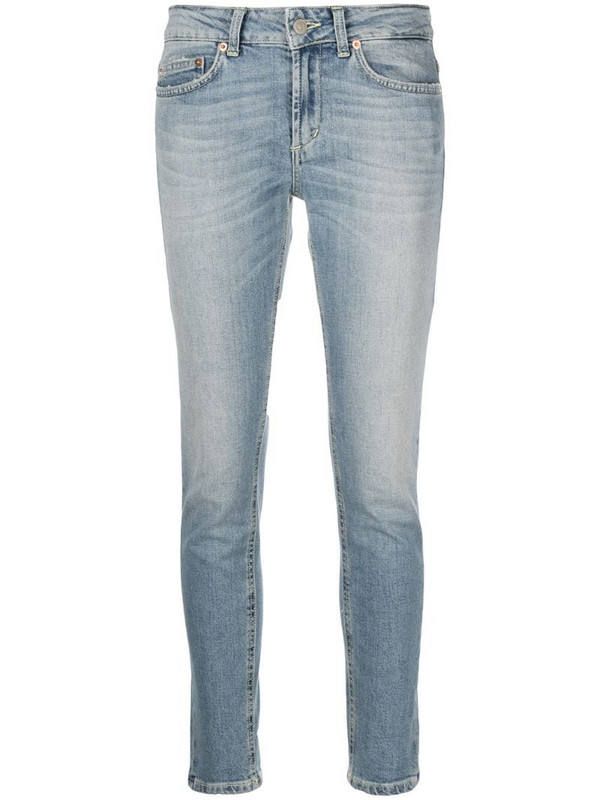 Dondup cropped straight-leg jeans in blue