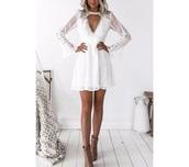 dress,white dress,boho dress,lace dress,long-sleeve dress