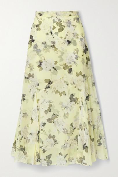 ERDEM - Shea Floral-print Silk-chiffon Midi Skirt - Yellow