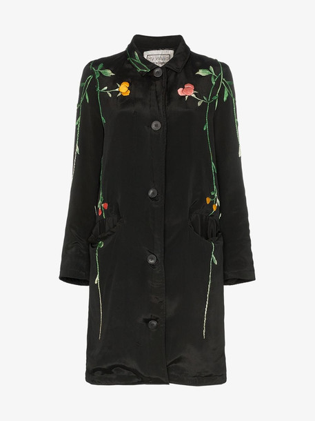 By Walid floral embroidered silk coat in black
