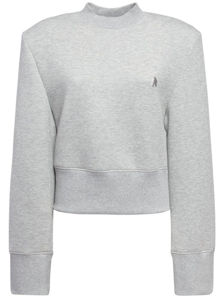 THE ATTICO Kenna Cotton Jersey Sweatshirt in grey