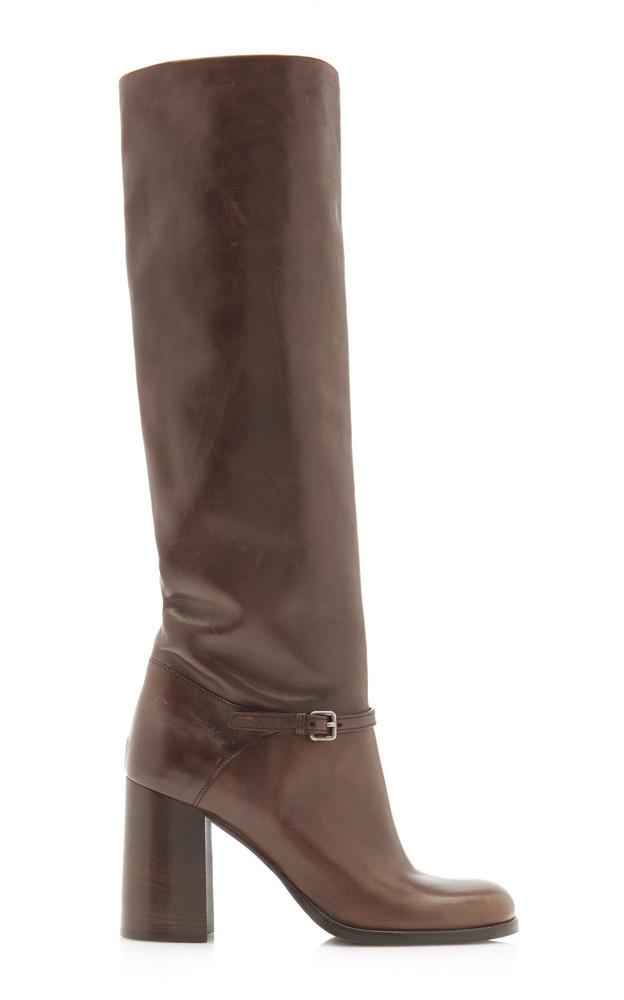 Miu Miu Leather Knee Boots in brown