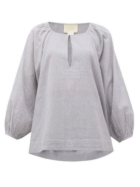 Anaak - Yuri Striped Cotton Blouse - Womens - Navy Stripe