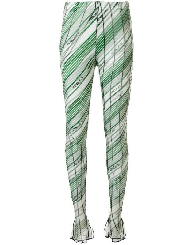 Y/Project diagonal stripes leggings in green