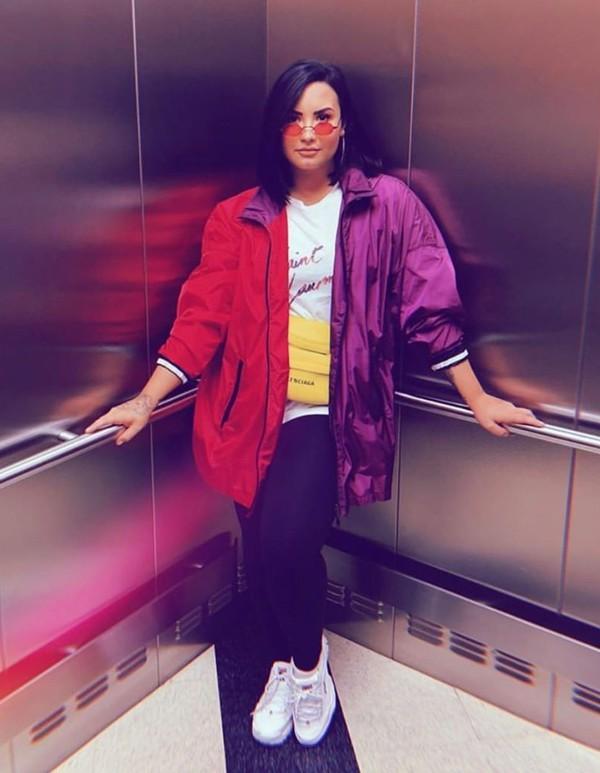 jacket red pink demi lovato celebrity sunglasses instagram