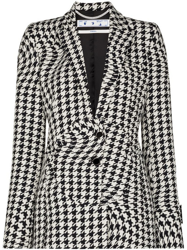 Off-White houndstooth single-breasted blazer in black