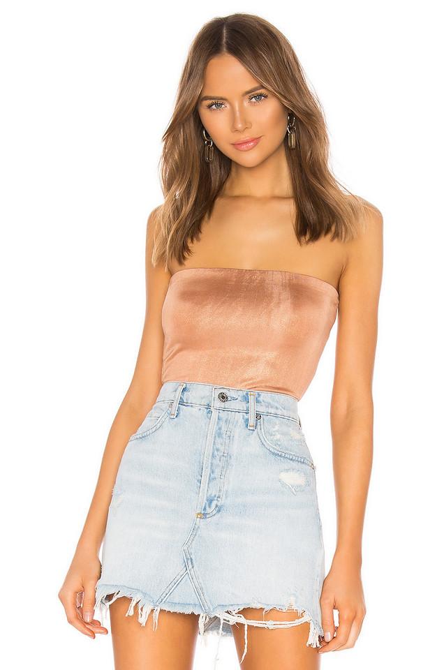 About Us Jezebel Sparkle Bodysuit in metallic / copper
