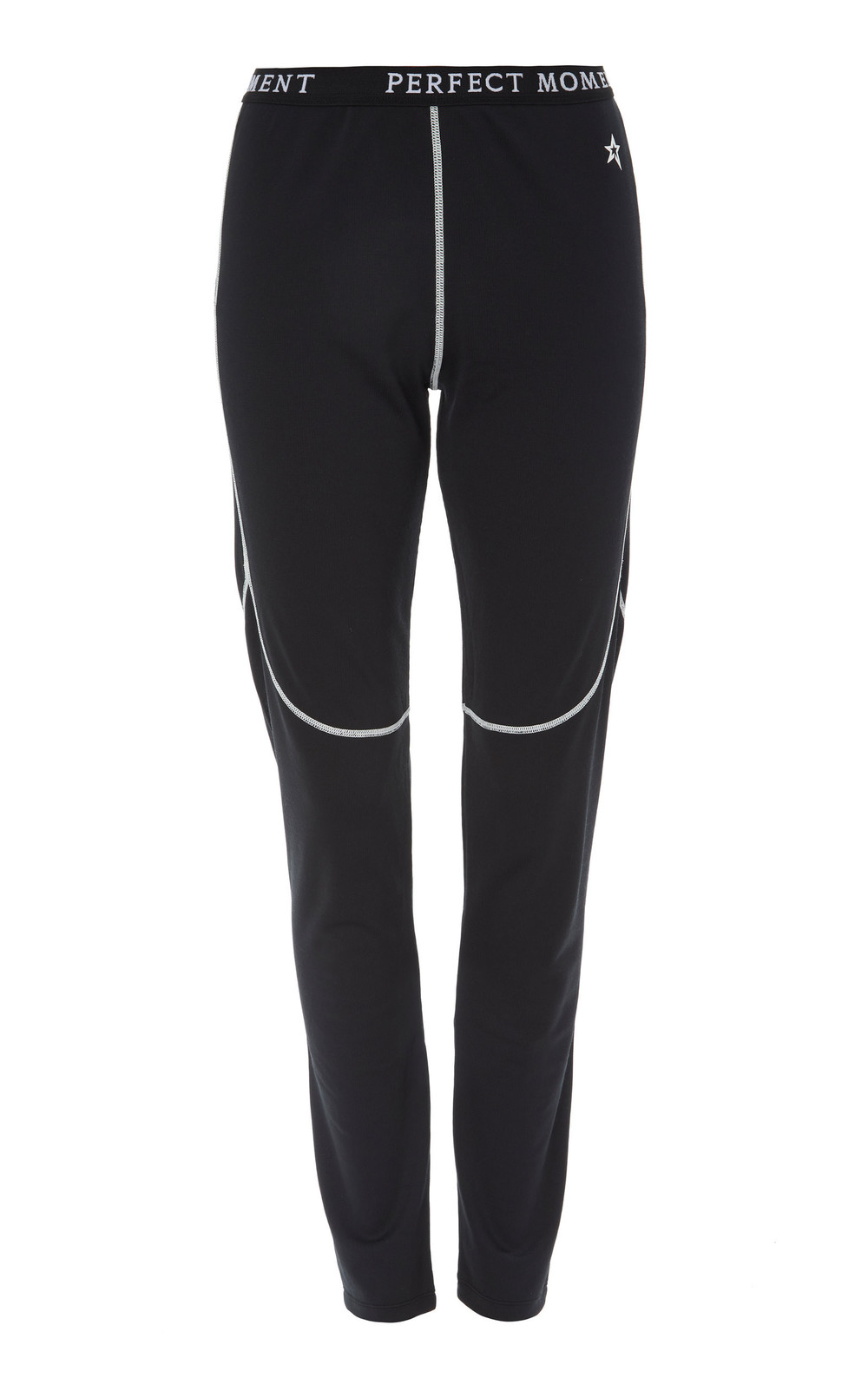 Perfect Moment Printed Stretch-Jersey Thermal Leggings in black