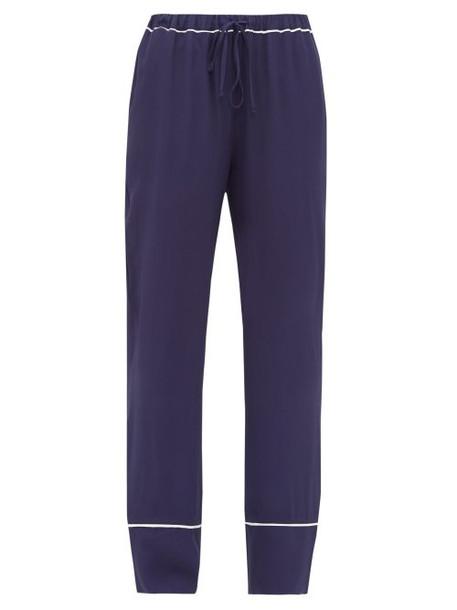 Marni - Contrast Trim Crepe Pyjama Trousers - Womens - Navy