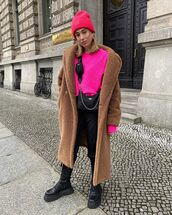 sweater,pink sweater,ankle boots,black boots,teddy bear coat,black pants,black bag,beanie