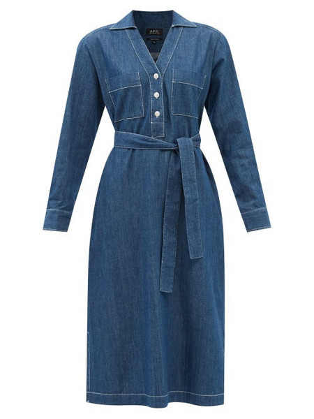 A.P.C. A.P.C. - Evelyn Belted Denim Shirt Dress - Womens - Mid Denim