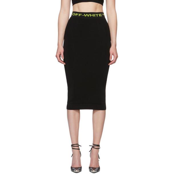 Off-White Black Knit Mid Skirt
