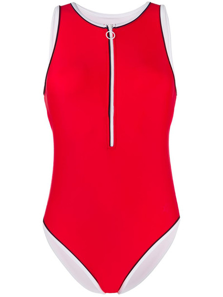 Perfect Moment half-zip one-piece swimsuit in red