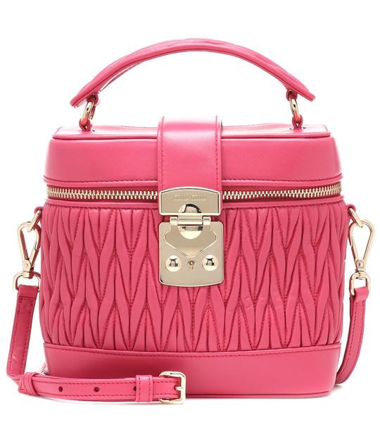 Miu Miu Matelassé leather tote in pink
