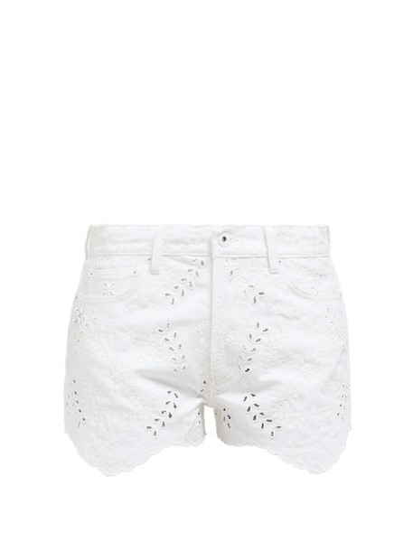 Off-white - Broderie Anglaise Embroidered Denim Shorts - Womens - White
