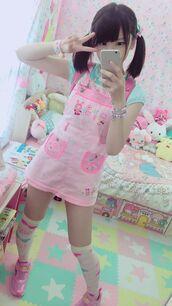 dress,fairy kei,kawaii,harajuku,pink,overall dress,overalls