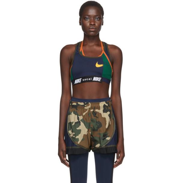 Nike Navy and Green Sacai Edition NRG Ga NI-11 Sports Bra