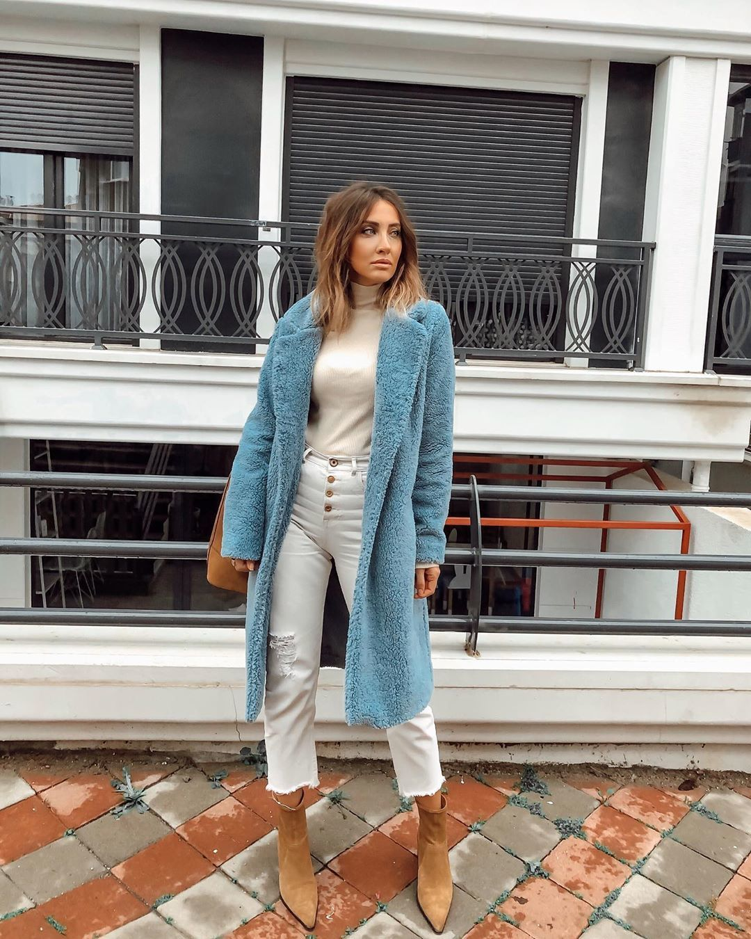 coat teddy bear coat ankle boots white jeans cropped jeans turtleneck
