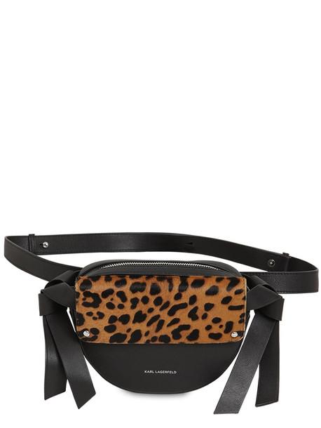KARL LAGERFELD Logo Ponyskin & Leather Belt Bag in leopard