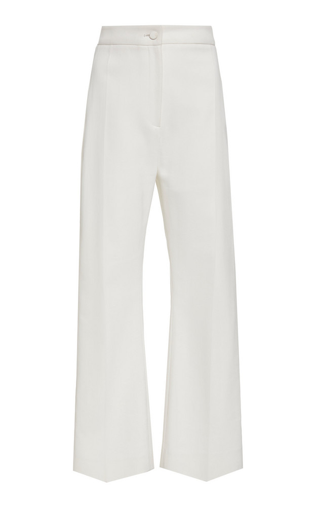 Brandon Maxwell Cropped High-Rise Cady Pants in white