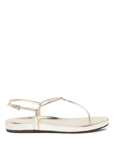 Prada - Metallic Leather Sandals - Womens - Gold