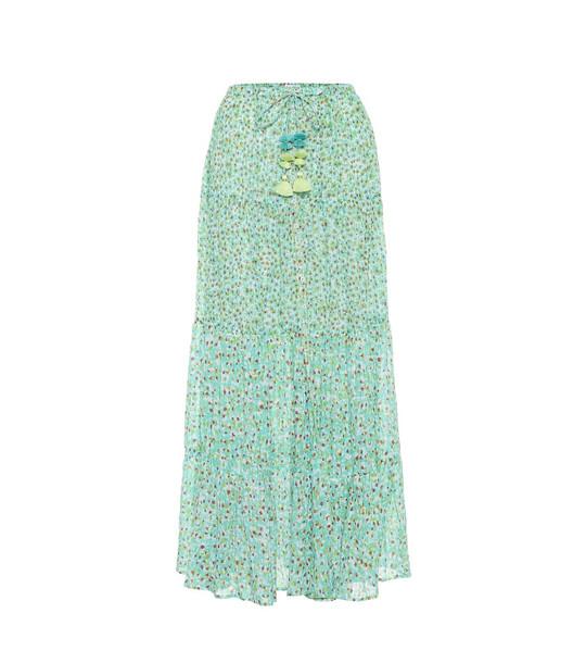 Poupette St Barth Rachel floral cotton maxi skirt in green