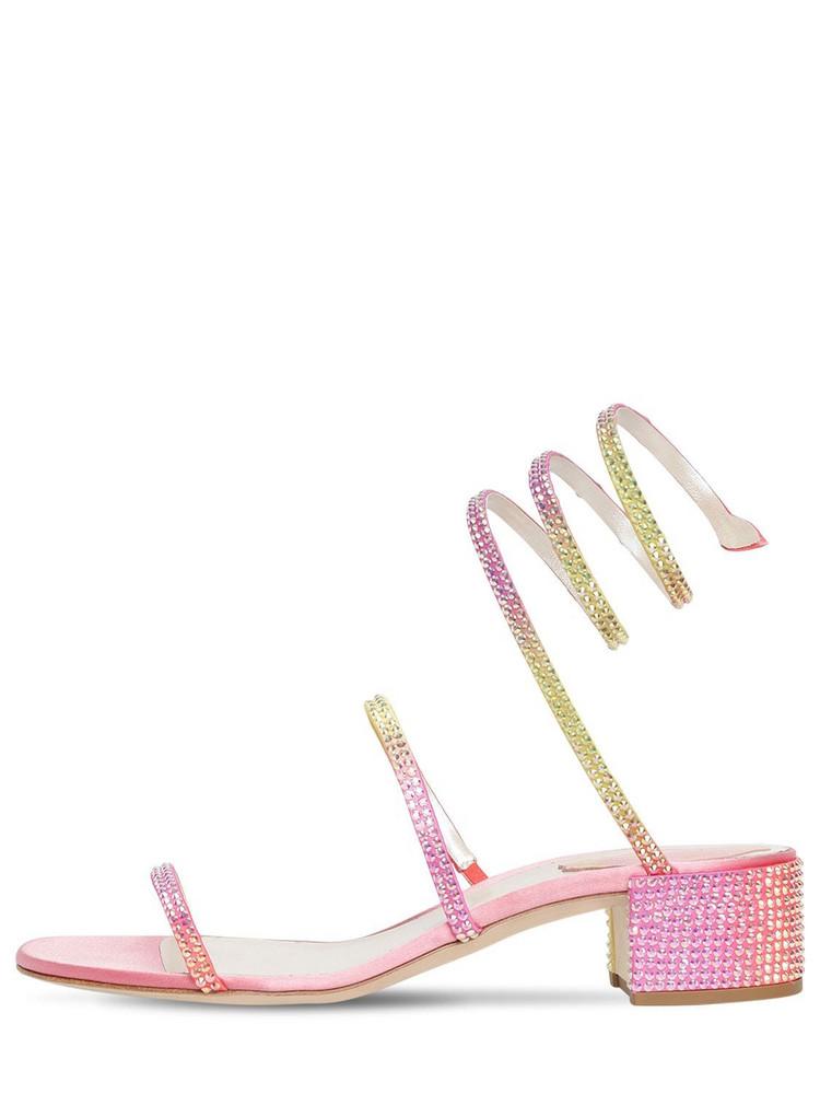 RENÉ CAOVILLA 40mm Snake Embellished Satin Sandals in pink
