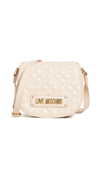 Moschino Quilted Saddle Bag in natural