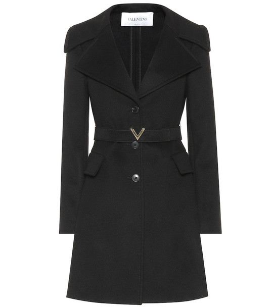 Valentino Wool and cashmere coat in black