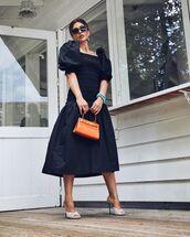 dress,black dress,midi dress,white sandals,handbag
