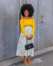 shoes,sandal heels,floral skirt,maxi skirt,blue skirt,black bag,ysl bag,yellow top,off the shoulder top