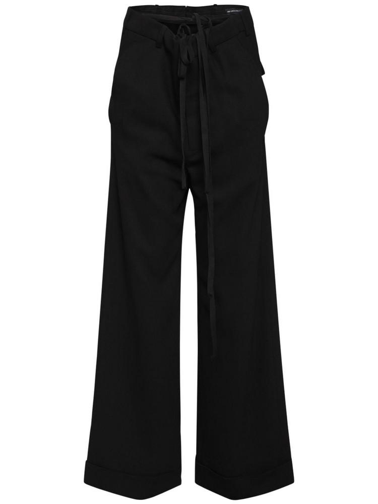 ANN DEMEULEMEESTER Bonne Viscose Crepe Wide Leg Pants in black