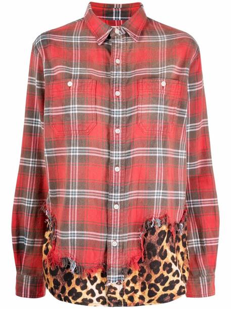 R13 mix print shirt - Red