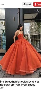 dress,orange dress,prom dress,prom gown,summer,graduation dress