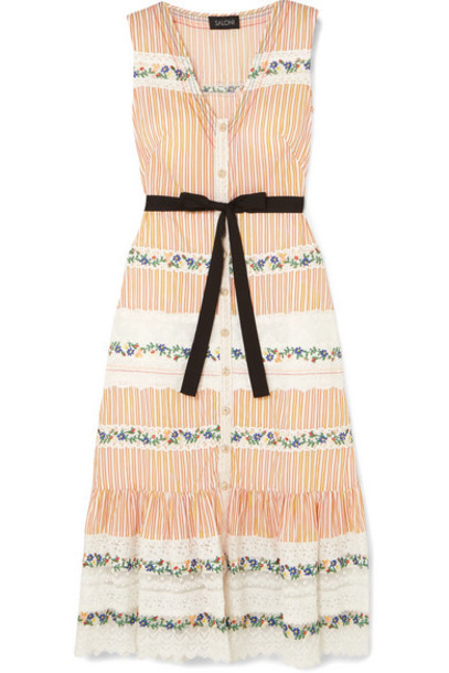 Saloni - Lorna Ruffled Embroidered Lace And Striped Cotton Dress - Neutral