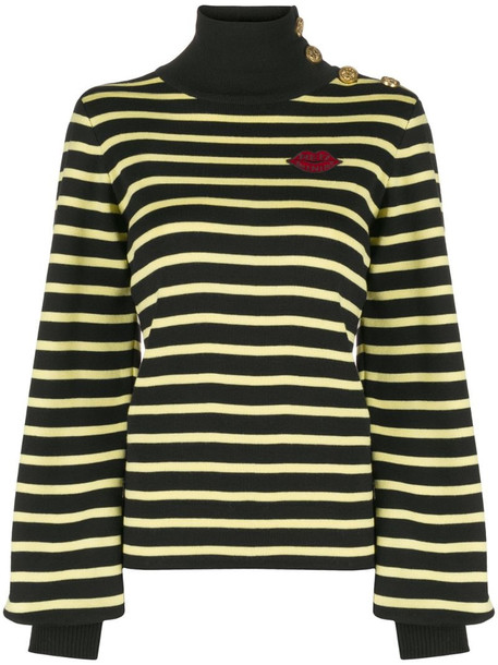 RedValentino button-embellished striped wool jumper in black
