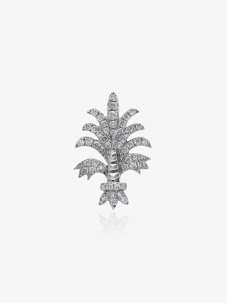 Yvonne Léon 18k white gold Bo Fleur diamond earring
