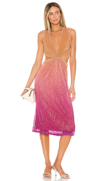 Song of Style Maddox Midi Dress in Pink