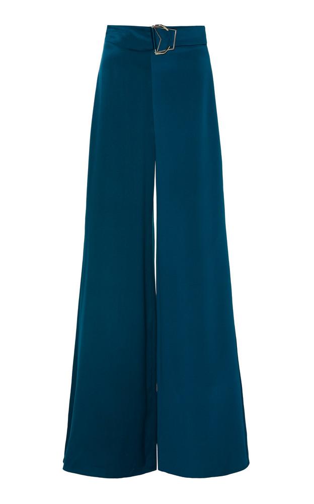 Cushnie Buckled Silk Wide-leg Pants in blue