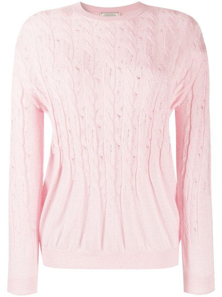 Nina Ricci gathered cable-knit jumper in pink