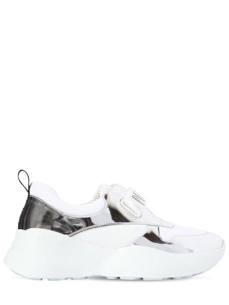 EMILIO PUCCI 60mm Positano Leather Sneakers in silver / white