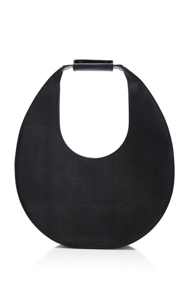 Staud Moon Large Leather Bag in black