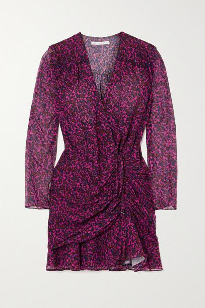 VERONICA BEARD - Anjali Wrap-effect Ruched Floral-print Silk-chiffon Mini Dress - Red