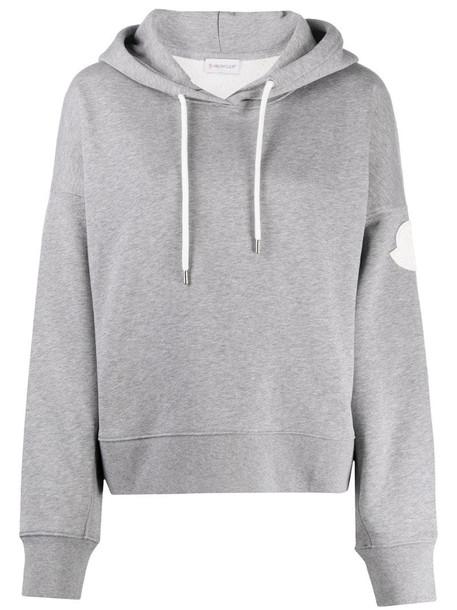 Moncler logo print hoodie in grey
