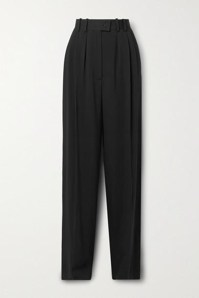 THE ROW - Lariana Pleated Crepe Straight-leg Pants - Black