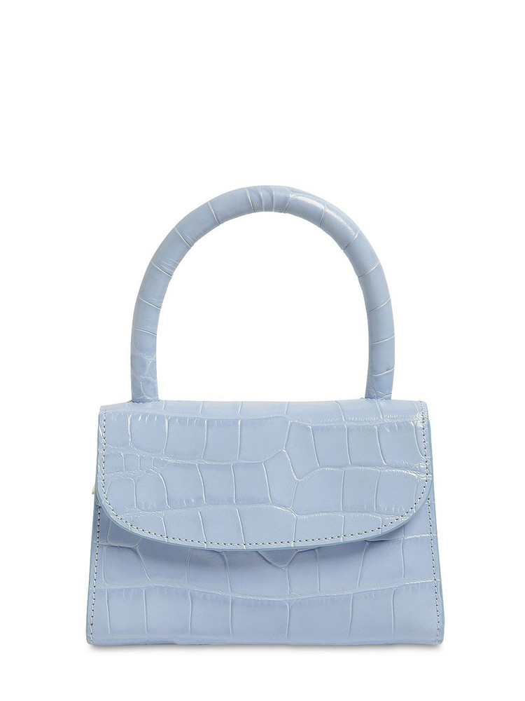 BY FAR Mini Croc Embossed Leather Bag in blue