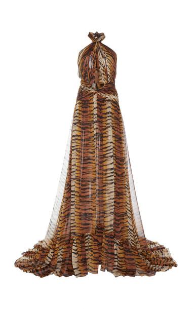 Dundas Tiger Print Halter Maxi Dress